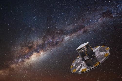 GAIA vor der Milchstraße (Künstlerische Darstellung: ESA/ATG medialab; Galaxie: ESO/S. Brunier)