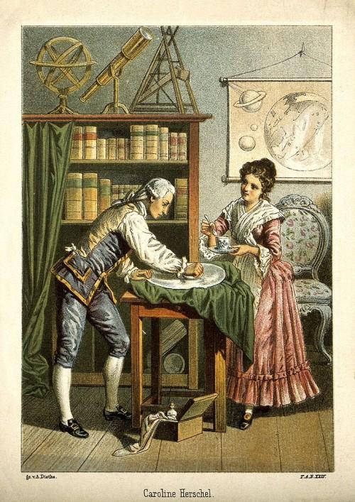 Wilhelm und Caroline Herschel (Bild: Wellcome Library no. 4183i Photo number: V0002731, CC-BY 4.0)