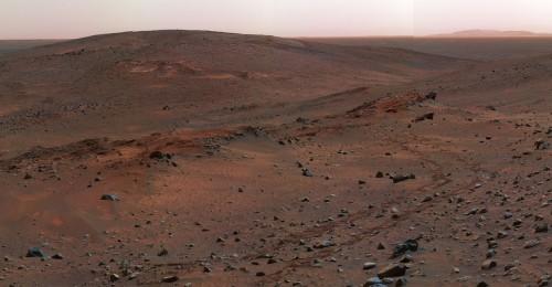 Da wollen wir hin! (Gusev-Krater am Mars, aufgenommen vom Rover Spirit. Bild: NASA/JPL)