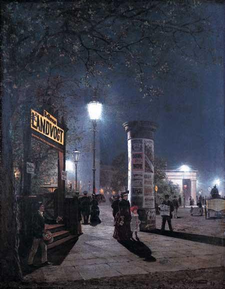 Die Lampe machts hell... (Erste elektrische Straßenbeleuchtung in Berlin, 1884, Carl Saltzmann)