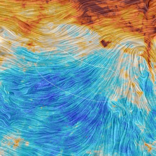 Staub in der Region, die BICEP beobachtet hat. Leider ein wenig zu viel... (Bild: ESA/Planck Collaboration. Acknowledgment: M.-A. Miville-Deschênes, CNRS – Institut d'Astrophysique Spatiale, Université Paris-XI, Orsay, France)