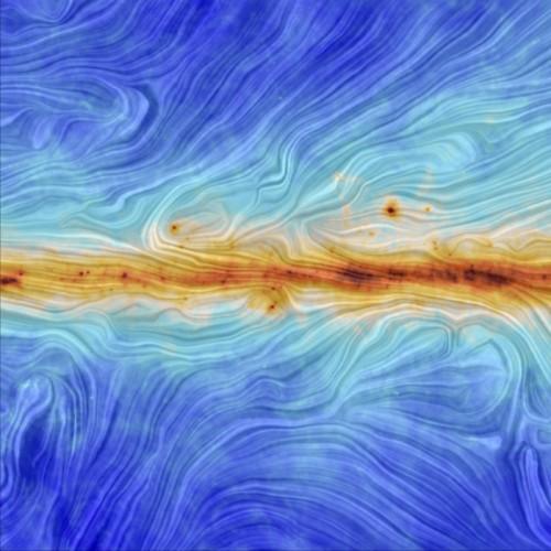Blick hinaus auf den Staub in Richtung der Milchstraße. Die Farben geben die Menge an Staub an und die Strukturen werden u.a. durch die kosmischen Magnetfelder erzeugt (Bild: ESA/Planck Collaboration. Acknowledgment: M.-A. Miville-Deschênes, CNRS – Institut d'Astrophysique Spatiale, Université Paris-XI, Orsay, France)