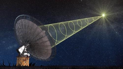 Nein, so sahen die Fast Radio Bursts nicht aus. Das ist nur eine Zeichnung. Aber das Teleskop ist echt! (Bild: Swinburne Astronomy Productions)