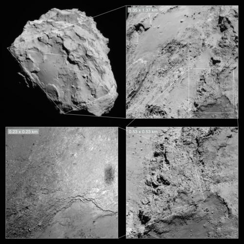 Lebt hier was? Bild: NAVCAM: ESA/Rosetta/NAVCAM – CC BY-SA IGO 3.0; OSIRIS: ESA/Rosetta/MPS for OSIRIS Team MPS/UPD/LAM/IAA/SSO/INTA/UPM/DASP/IDA