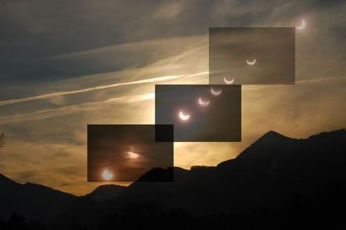 Partielle Sonnenfinsternis in bei Hittenkirchen am Chiemsee 4. Januar 2011 Montage aus Einzelbildern (Bild: Sgbeer, CC-BY-SA 3.0)