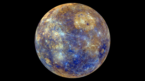 MESSENGERS Karte des Merkurs - die Farben sind allerdings nicht echt. (Bild: NASA/Johns Hopkins University Applied Physics Laboratory/Carnegie Institution of Washington)