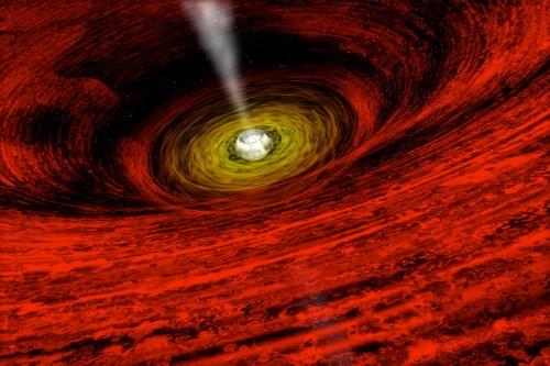 Schwarzes Loch mit Akkretionsscheibe (Künstlerische Darstellung: NASA/CXC/A.Hobart)
