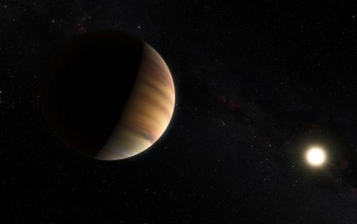 Künstlerische Darstellung von 51 Pegasi b und seinem Stern: ESO/Kormesser/Risinger (skysurvey.org))
