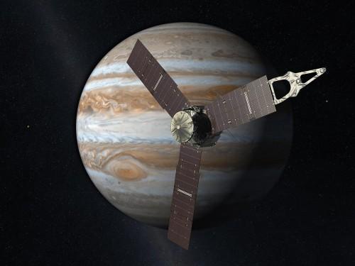 Juno vor Jupiter (Künstlerische Darstellung: NASA/JPL)