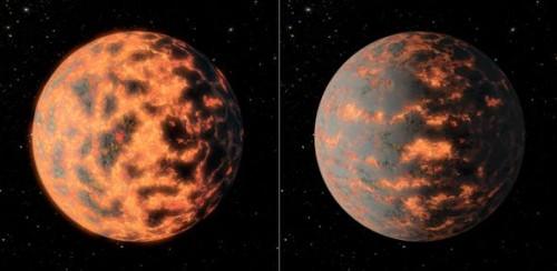 Künstlerische Darstellung von 55 Cancri e (NASA/JPL-Caltech/R. Hurt)