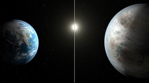 Vergleich zwischen Erde/Sonne und Kepler-452b und seinem Stern. Es ist eine KÜNSTLERISCHE DARSTELLUNG! Ob der Planet auch nur annähernd erdähnlich aussieht, ist völlig unbekannt (Bild: NASA/Ames/JPL-Caltech/T. Pyle)