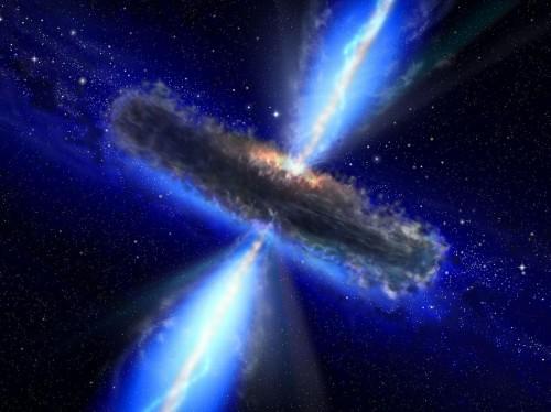 Künstlerische Darstellung eines supermassereichen schwarzen Lochs hinter einer Schicht aus Gas und Staub (Bild: NASA/ESA)