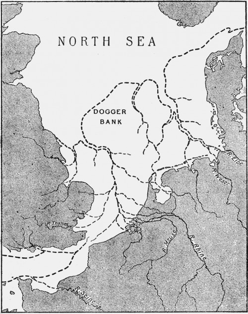Rekonstruktion der Geografie von Doggerland nach Clement Reid aus dem Jahr 1913 (Bild: Public Domain)