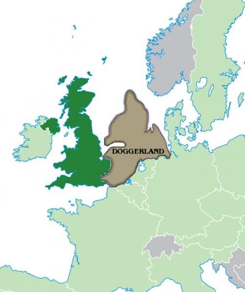 Vermutliche Lage und Ausdehnung von Doggerland vor 12.000 Jahren (Bild: Public Domain)