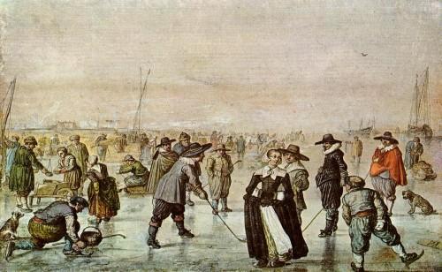 """""""Eisvergnügen"""" auf den zugefrorenen Kanälen in den Niederlanden (Bild: Hendrik Avercamp, 1608, gemeinfrei)"""