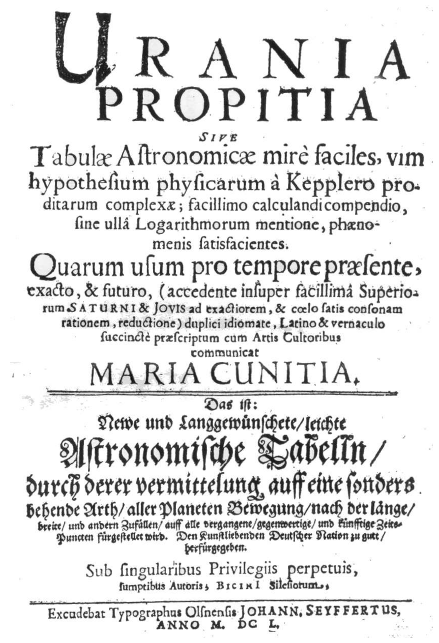 Titelseite der Urania Propitia