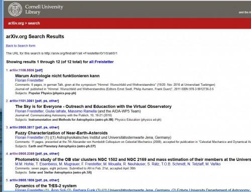 Alles da im arXiv, auch der ganz obskure Kram...