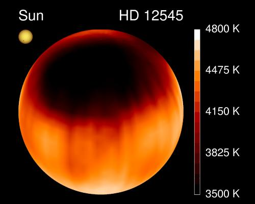 Große Sterne haben auch große Flecken. So wie HD 12545. Bild: K.Strassmeier, Vienna, NOAO/AURA/NSF