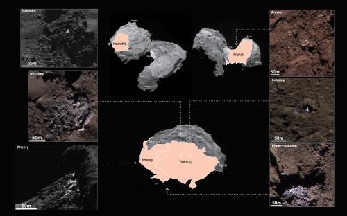 Eis auf dem Kometen (Bild:  ESA/Rosetta/MPS for OSIRIS Team MPS/UPD/LAM/IAA/SSO/INTA/UPM/DASP/IDA)