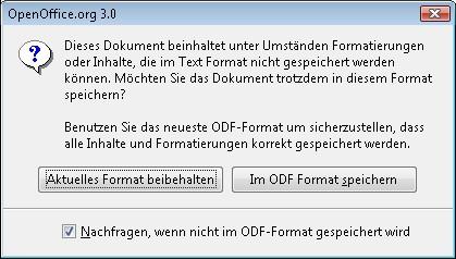 OO-Formatwarnung