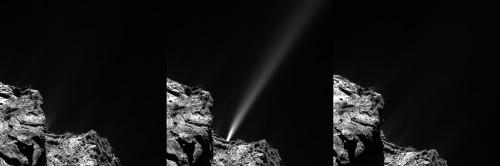 Aktivität auf 67P. Der am 29. Juli 2015 beobachtete Gas-Jet schießt mit ca. 10 m/s ins All und dauerte nur knapp eine halbe Stunde (Bild: ESA/Rosetta/MPS for OSIRIS Team MPS/UPD/LAM/IAA/SSO/INTA/UPM/DASP/IDA)