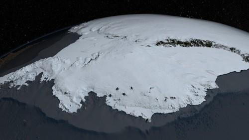 Aus Messungen erstelltes Modell der Eisdecke über der Antarktis (Bild: NASA Goddard's Scientific Visualization Studio)