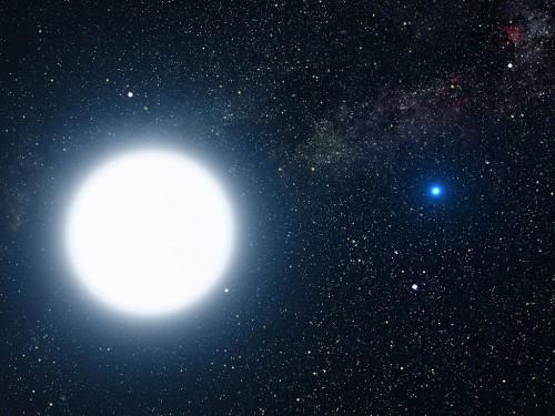 """Künstlerische Darstellung von Sirius A und B (""""Bild: NASA, ESA and G. Bacon (STScI))"""