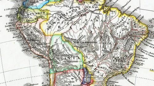 """Amazonien 1862: Die schnurgerade Grenzlinie im Gebiet um die Flüsse Beni und Purus kennzeichnet die umstrittene Region. Dead Horse Camp, das später noch eine wichtige Rolle spielt, befindet sich in etwa unter dem Doppel-S von """"Matto-Grosso"""") (Bild: Public Domain)"""