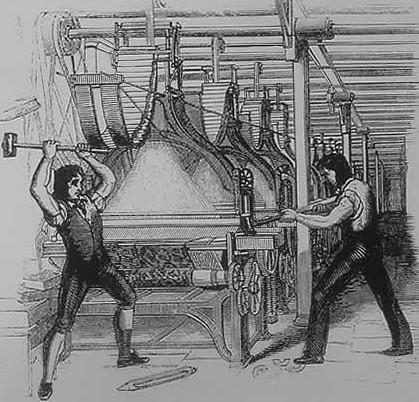 Die Zerstörung von Maschinen war im 19. Jahrhundert eine gänige Protestform von Arbeitern. (Bild: gemeinfrei)