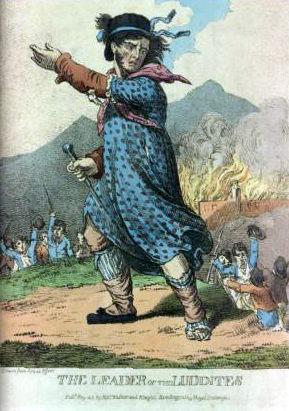"""Bildunterschrift: So stellte man sich den Anführer der Ludditen """"Ned Ludd"""" vor. Bild: Public Domain"""