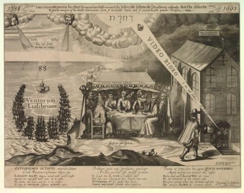 """Das Bild schlägt eine Brücke zwischen der Vernichtung der Spanischen Armada und der Pulverfaßverschwörung. Es stellt beide als einen gottgewollten Sieg der Briten über die Verschwörung der """"Papisten"""" dar. (Bild: The Double Deliverance 1588 1605, British Museum. CC BY-NC-SA 4.0."""