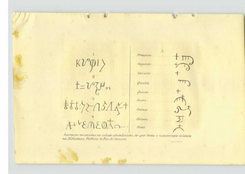 Geheimnisvolle Schriftzeichen aus dem Manuscrito 512. Der unbekannte Autor hatte hier Inschriften aus der Ruinenstadt kopiert. David Grann fand diese Zeichen später in Fawcetts Tagebüchern wieder. (Bild: Public Domain)