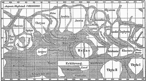 Marskanäle nach Schiaparelli (Bild: gemeinfrei)