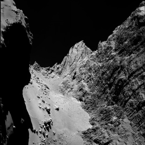Rosettas Komet (Bild:  ESA/Rosetta/MPS for OSIRIS Team MPS/UPD/LAM/IAA/SSO/INTA/UPM/DASP/IDA)