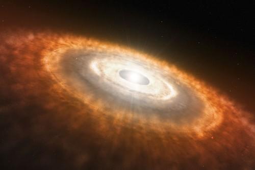 Künstlerische Darstellung einer protoplaneteren Scheibe aus Staub und Gas die einen jungen Stern umgibt (ESO/L. Calçada)