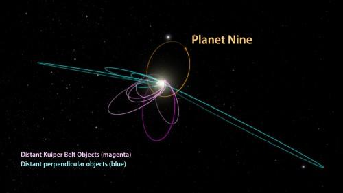 """Bahnen von """"Planet 9"""" und Asteroiden - die besagten 6 sind violett eingezeichnet (Bild: Caltech/R. Hurt)"""