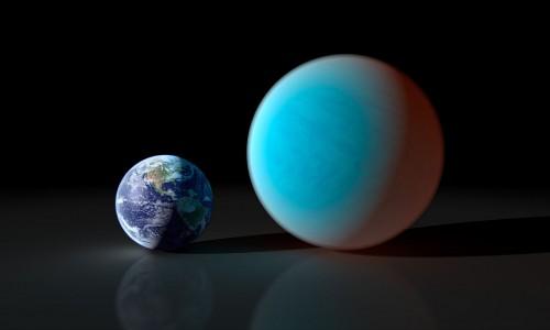 Größenvergleich zwischen Erde und 55 Cancri e (Bild: NASA/JPL-Caltech/R. Hurt (SSC))