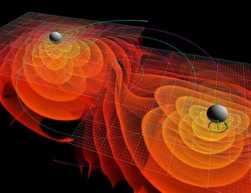 """Zwei schwarze Löcher verschmelzen. Aber ob das was mit dunkler Materie zu zun hat? (Bild: NASA/Ames Research Center/C. Henze"""")"""