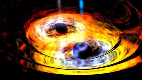 Künstlerische Darstellung der Verschmelzung zweier schwarzer Löcher (Bild: NASA)