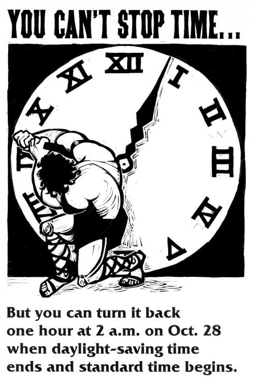 Die Zeit lässt sich nicht stoppen. Aber man kann die Uhr umstellen! (Bild: public domain)
