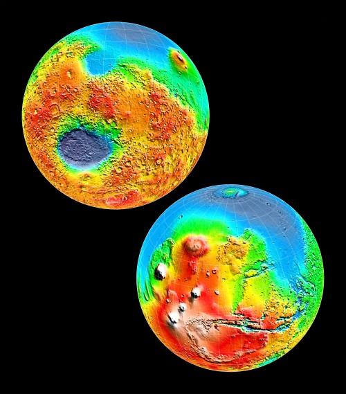 Marshöhen, vermessen von MOLA (Bild: NASA/JPL/GSFC)
