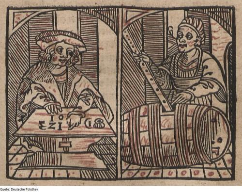 Rechts: Fässer vermessen vor Kepler (Bild: Deutsche Fotothek, public domain)