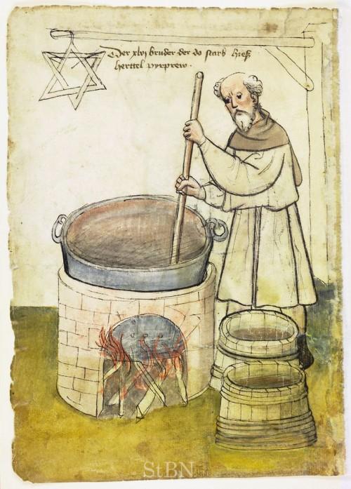 pyrprew herttel (Bierbrauer Hertel) aus dem Hausbuch der Mendelschen Zwölfbrüderstiftung von 1425 (Bild: gemeinfrei)