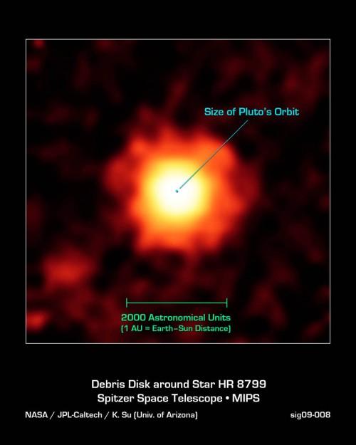 Staub um HR 8799 (Bild: NASA/JPL-Caltech/K.Su)