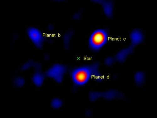 Drei der Planeten von HR 8799 (NASA/JPL-Caltech/Palomar Observatory/a>)