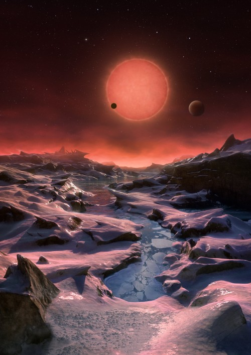 Künstlerische Darstellung des TRAPPIST-1-Systems, gesehen von einem der drei Planeten aus (Bild: ESO/M. Kornmesser)