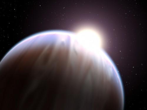 Künstlerische Darstellung eines heißen Jupiters (Bild: NASA, ESA, and G. Bacon (STScI))