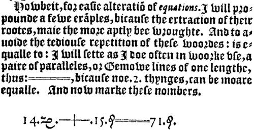 Recordes Erklärung zum Gleichheitszeichen und die erste Gleichung in der es verwendet wurde: 14x + 15 = 71 (Bild: gemeinfrei)