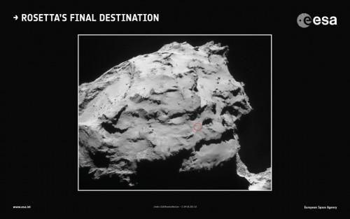 Hier (roter Kreis) soll Rosetta landen (Bild: ESA)