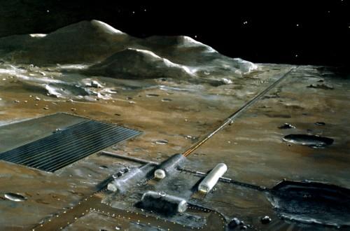 Künstlerische Darstellung eines elektromagnetischen Katapults auf dem Mond (Bild: NASA)